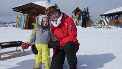 Oma & Amelie in the snow (Madleeeen) Tags: family winter snow ski cold austria skiing hats sunny amelie grandparents kaiser wilder sledge sledging