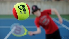 Pop Fly (disgruntledbaker1) Tags: blue red green ball happy nikon action bokeh weekend have tennis stop d90 disgruntledbaker