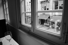 The window with a view (Rahul Gaywala) Tags: street old white black window monochrome vintage germany mono restaurant europe view stuttgart rustic