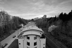 Into the valley... (John fae Fife) Tags: urban blackandwhite bw monochrome luxembourg kirchberg urbanlandscape xe2 fujifilmx