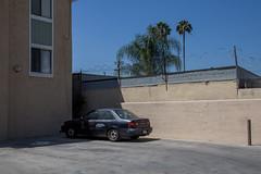 Corolla and Palms (Alec C Miller) Tags: california street city urban color building tree art car digital landscape photography los alley apartment angeles parking fine lot palm feliz