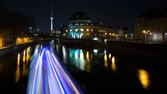 Ghost Lights On The Spree (Mister V) Tags: light berlin tower museum night germany lights boat streak streaks