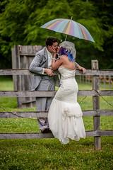 Lana and Will, 4/30/16 (Karen Alisa) Tags: wedding love umbrella fence rainbow kiss couple colorful farm celebration