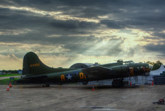 Sally B Sunset (nigdawphotography) Tags: sunset plane airplane fly flying war aircraft aeroplane b17 crew ww2 bomb bomber usaf pilot bombing b17bomber sallyb allied memphisbelle