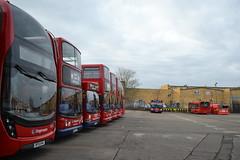 Stagecoach London 13077 BF15KHA - Driver Trainer 17419 LX51FJJ - 34358 LV52HKK - 18497 LX06AHD - 18463 LX55EPN - 18483 LX55BEO - 10137 LX12DFO - Driver Trainer 34353 LV52HKE - 36314 LX58CAU (Will Swain) Tags: uk travel england bus london buses december britain garage south transport shed east vehicles vehicle depot driver greater trainer stagecoach 19th catford 2015 10137 13077 17419 18463 18497 34358 34353 36314 lx06ahd 18483 lx55beo lx51fjj lx55epn lx12dfo lv52hkk lv52hke lx58cau bf15kha
