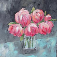 Peonies on Gray (Art by Trish Jones (theOldPostRoad)) Tags: life pink flowers original flower art floral painting jones still trish peony vase bouquet peonies theoldpostroad