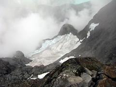 Down Into Clouds (Dru!) Tags: cloud mountain canada weather clouds bc britishcolumbia glacier alpine granite northface glacierbay stavelake coastmountains serac mountrobiereid robiereid