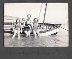Daddy Barbie and I (Bury Gardener) Tags: uk england blackandwhite bw vintage seaside oldies