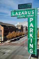 Lazarus South Front Parking (GmanViz) Tags: street color sign nikon downtown neon garage parking columbusohio intersection frontst gmanviz d7000