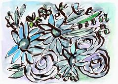 Beach Glass Flowers 2- Art by Linda Woods (lindawoods) Tags: pillow greetingcard tote homedecor corporateart setdesign hotelart livingroomart bedroomart gallerywall artbylindawoods artlicensing hospitalityart artforinteriordesigners airbnbdecor