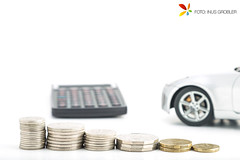 Stacks of Coins with Calculator and Car in the Background (grobler.inus) Tags: light white money macro car closeup silver studio photography coins tent calculator isolated finance microstock ishootraw fotoinusgrobler