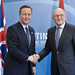 David Cameron meets with Prime Minister Salam, of Lebanon, at the Syria Conference.