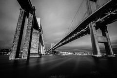 Under the bridges (NikNak Allen) Tags: longexposure bridge light blackandwhite white black reflection water architecture river cornwall shadows plymouth railway devon tamar trainbridge brunel saltash roadbridge rivertamar brunelbridge