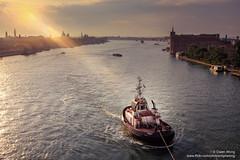 DSCF7676 (opnwong) Tags: travel venice light water sunrise boat canal ngc tug cloudsstormssunsetssunrises