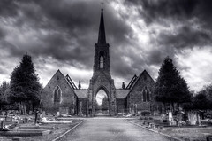 The Chapel (Philip R Jones) Tags: blackandwhite bw cemetery photoshop photography photo cheshire highcontrast chapel ps hdr lr lightroom middlewich photomatix chapelofrest middlewichcemetery