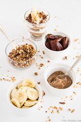 Greek Yogurt Banoffee Parfait -    (the healthy cook blog) Tags: food breakfast canon recipe healthy athens desserts delicious greece bananas almonds granola dates parfait lowfat healthydesserts healthyeating healthycooking foodphotography foodblogging greekyogurt foodblogs lowcalorie healthyrecipes lowcholesterol canon550d greekfoodblogs eviskoura thehealthycookblog withoutaddedsugar yogurtparfaitbanoffee datecaramel