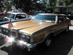 Mercury Cougar With American Flag. (dccradio) Tags: old trees usa tree classic car wisconsin vintage community mercury antique flag americanflag event transportation vehicle greenery cougar wi carshow stratford collector usflag heritagedays marathoncounty centralwisconsin