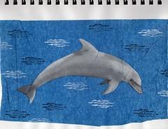 Dolphin Stencil (Restless Muse) Tags: paper sketch acrylic dolphin mixedmedia journal sketchbook sbs artjournal sketchbookskool