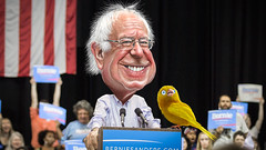 Birdie Sanders - The Canary in the Coalmine of Democracy (DonkeyHotey) Tags: face illustration birdie burlington photomanipulation photoshop photo vermont mayor senator congressman political politics cartoon manipulation independent politician socialist canary democrat democratic commentary politicalcommentary berniesanders donkeyhotey bernardsanders