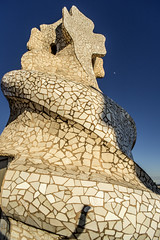 Rooftop mozaic and moon, La Pedrera, Barcelona (Gordon Haws) Tags: barcelona spain gaudi catalunya catalan casamil lapedrera antonigaudi