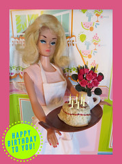Happy Birthday, Rita!! (Foxy Belle) Tags: birthday pink flowers kitchen fashion cake vintage doll candles barbie retro queen card wig blonde