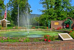 ~ Filling Up The Fountain .... (~ Cindy~) Tags: park flowers white color fountain tennessee august flags gazebo vietnam blueskies harriman lowered archived memorials halfstaff hbm veteransmemorial 2015 davidwebbmemorialpark fountainsspray nestledinthemountains