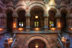 New York State Capitol ~ Albany New York ~ Million Dollar Staircase (Onasill ~ Bill Badzo) Tags: ireland england people ny newyork stone wales architecture self see scotland photo site arch state great skylight style ceiling historic architect staircase dollar western million albany column vault register guide must tours romanesque hdr carvings attraction richardson richardsonian albanycounty nrhp captitol onasill snapseed