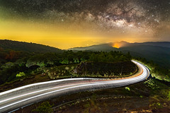 Milky way on night sky with lighting on the road at Doi inthanon Chiang mai, Thailand. (Alongkot.S) Tags: sky glitter night dark way thailand long exposure shine background cluster wave atmosphere twinkle science calm astro sagittarius scorpio sparkle telescope stellar galaxy nebula astrophotography lyra astronomy outer outerspace universe milky cosmic starry cosmos infinite constellation milkyway vast chaingmai aquila starlight doi starfield sagitta nebulae cignus starbright astrophotograph vulpecula inthanon