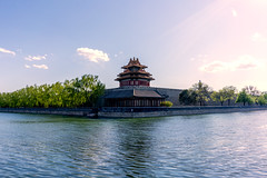 Forbidden City Corner Tower - Beijing (michael_rizzi) Tags: china city sunset red reflection building tower water architecture asian guard chinese beijing forbidden