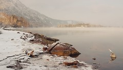 Whinter Serenity (her_beauty_eyes) Tags: trees winter mountains cold water river stones siberia