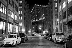 washington street, brooklyn (twurdemann) Tags: city newyorkcity longexposure travel bridge winter urban blackandwhite newyork brooklyn night industrial unitedstates fiat parking dumbo cobblestones manhattanbridge eastriver empirestatebuilding gentrification waterstreet washingtonstreet niksilverefex fujixt1 2016tripnewyork