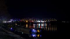 Cumberland River (ramseybuckeye) Tags: life road railroad bridge color art colors night river dark lens lights rj nashville pentax tennessee sigma rail rr 1750 colored louisville cumberland multi clarksville corman