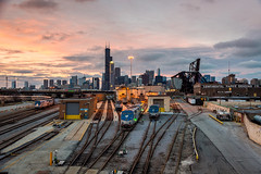 Chicago Plate 144 (Cycle the Ghost Round) Tags: city railroad pink blue sunset urban orange chicago beautiful skyline yard train grey illinois amazing industrial searstower awesome tracks engine dramatic gritty amtrak locomotive lowerwestside