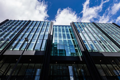 Quarter Mile Development-8 (Philip Gillespie) Tags: street city blue windows sky sun white reflection tower glass up skyline architecture clouds contrast work buildings outside photography scotland office spring edinburgh cityscape angle outdoor wide meadows april series block leading 2016 sequent