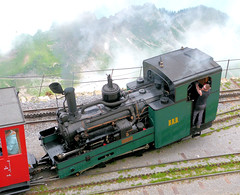 Brienz Rothorn Bahn - Locomotive No. 5, built 1891 for the WAB, arrives at the Summit Station on the 9th July 2012 (trained_4_life) Tags: switzerland brb berneseoberland cograilway brienzrothornbahn rackrailway brienzrothornsummitstation
