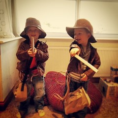 cute #twins #two #cheeky #indianajones #dressup... (nathanrobinson2) Tags: two cute boys fun twins hats dressup cheeky machete indianajones instagram uploaded:by=flickstagram instagram:photo=705886878710366323184137303