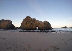 The Doorwway. (sweet.disposition) Tags: ocean door sea beach sunrise dawn bigsur footprints naturalbridge naturalwonder pfeifferbeach gopro goprohero3
