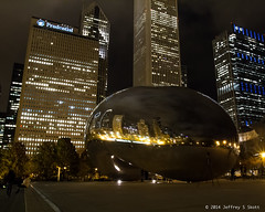 Chicago's CloudGate - The Bean - at Millenium Park 4 (Jeff Skott) Tags: november chicago skyscape illinois nightscape milleniumpark cloudgate thebean 2014