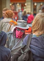 Just a Face in the Crowd.. (Harleynik Rides Again.) Tags: street pink people streetart face bath streetlife busker harleynikridesagain