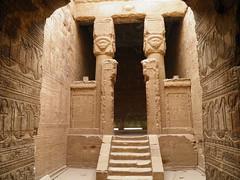 Dendera, Hathor Temple, New Year Chapel (dr.heatherleemccarthy) Tags: sculpture monument wall stairs writing temple decoration egypt chapel screen stairway relief doorway hieroglyphs doorways hathor texts ptolemaic dendera