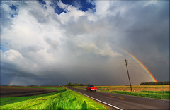 Partial double rainbow over the highway | Fairgrange, IL (StormLoverSwin93 | Into the Storm) Tags: road sky field weather canon landscape photography rainbow thunderstorm doublerainbow atmosphericoptics circularpolarizer severe 60d canon60d canoneos60d illinoisthunderstorms