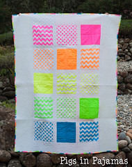 Neon quilt front (pigsinpajamas) Tags: neon quilt fabric batting layercake basting backing jellyroll rileyblake