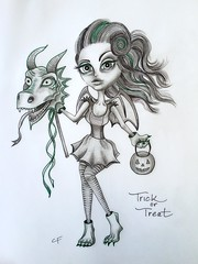 Trick or Treat (Enchanted Fields) Tags: halloween costume dragon candy trickortreat surrealism prismacolor graphite pencildrawing inkart dragongirl