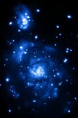 "Supermassive Black Hole in a ""Small"" Galaxy (sjrankin) Tags: edited nasa xray m51 merge chandra collision interacting whirlpoolgalaxy ngc5195 supermassiveblackhole chandraspacetelescope 5january2016"