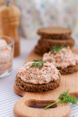 Smoked Salmon, Cream Cheese, Dill and Horseradish Pate on Rye Bread Slices (dolphy_tv) Tags: red food fish glass cheese breakfast dinner dill bread table lunch spread dish starter paste board toast cream knife salmon sandwich delicious slice snack meal jar seafood appetizer trout piece creamcheese dip quark herb pate mayonnaise ryebread tartar creamy mousse sourcream curd bruschetta smoked antipasti cremefraiche zest uncooked rillette cottagecheese sometimessavory