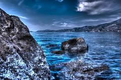 Sky, clouds, sea and rocks... (theseustroizinian) Tags: blue sea seascape canon landscape seaside corinth hellas greece hdr loutraki peloponnese seasunandclouds canoneos700d simplysuperb hdraward eos700d