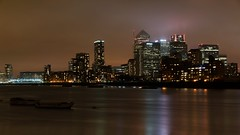Fog and the city (eric_q) Tags: london colors thames night dark canarywharf