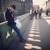 At first this looks like a picture of a handsome young man on Westminster Bridge. But it's really a photo of the shadows that the tricircular holes in the bridge throw. Do they remind you of anything? (oldrockerward) Tags: city bridge shadow portrait man london westminster thames youth scarf hair penis funny circles shaved young handsome balls parliament cock tourists jeans plasticbag pedestrians holdinghands testicles weiner texting strolling engrossed tightjeans undercut
