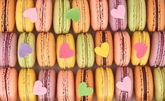 Macarons background, close up (prolisafoto) Tags: birthday wedding summer food paris love coffee up yellow vintage festive french dessert spring colorful close heart sweet box chocolate pastel background postcard traditional valentine retro delicious biscuit celebrate macaron