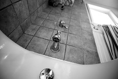 The Tub (jimsheaffer) Tags: blackandwhite bathroom shower tub bathroomfixtures realestatephotography nikonwideangle nikkor1835mmlens nikond750 nikkor1835mmf3545gedlens